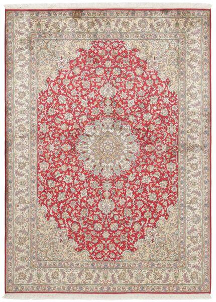 Kashmir Pure Silk Rug 158X213 Authentic  Oriental Handknotted Light Grey/Light Brown (Silk, India)