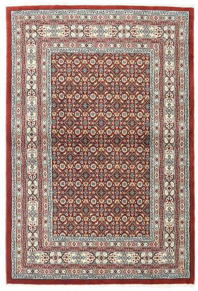 Moud Rug 100X150 Authentic  Oriental Handknotted Light Grey/Dark Red (Wool/Silk, Persia/Iran)