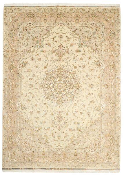 Tabriz 50 Raj Rug 253X350 Authentic  Oriental Handknotted Beige/Dark Beige Large (Wool/Silk, Persia/Iran)