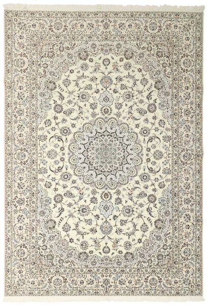 Nain 6La Rug 258X371 Authentic  Oriental Handknotted Light Grey/Beige Large (Wool/Silk, Persia/Iran)