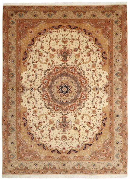 Tabriz 50 Raj Rug 250X336 Authentic  Oriental Handknotted Brown/Light Brown Large (Wool/Silk, Persia/Iran)