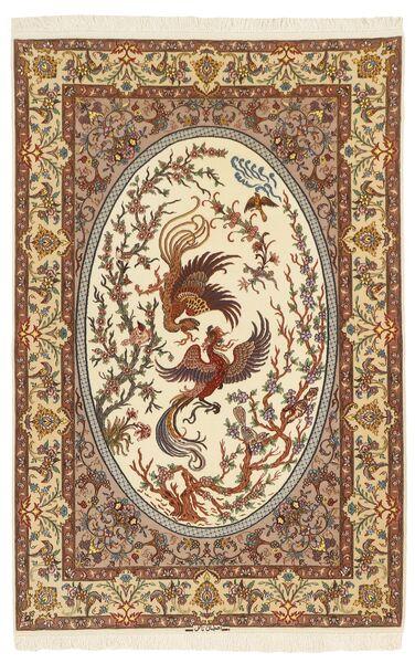 Isfahan Silk Warp Rug 132X200 Authentic  Oriental Handknotted Brown/Beige (Wool/Silk, Persia/Iran)