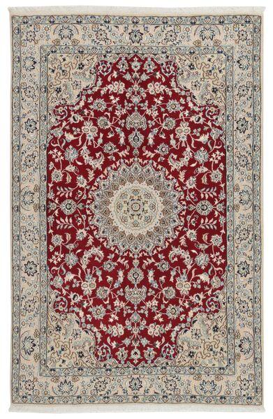 Nain 9La Rug 133X207 Authentic  Oriental Handknotted Light Grey/Dark Red (Wool/Silk, Persia/Iran)