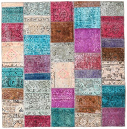Patchwork - Persien/Iran Rug 200X205 Authentic  Modern Handknotted Square Light Grey/Purple (Wool, Persia/Iran)