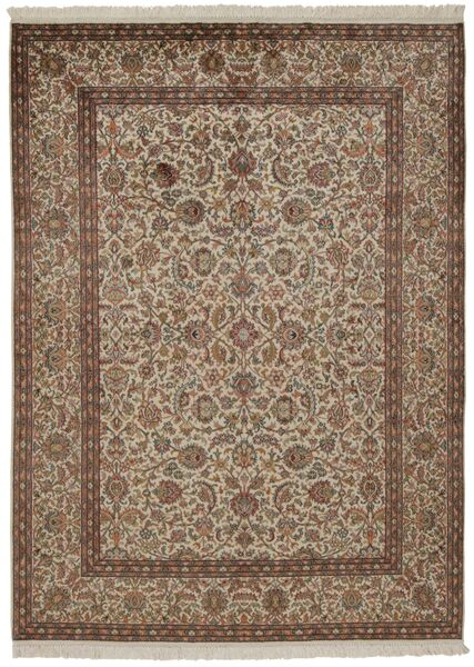 Kashmir Pure Silk Rug 157X214 Authentic  Oriental Handknotted Brown/Light Grey/Light Brown (Silk, India)