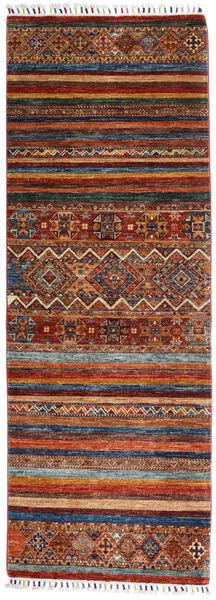 Shabargan Rug 77X215 Authentic  Modern Handknotted Hallway Runner  Dark Red/Dark Grey (Wool, Afghanistan)