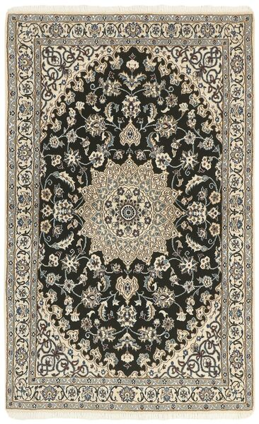 Nain 9La Rug 114X183 Authentic  Oriental Handknotted Light Grey/Dark Grey/Beige (Wool/Silk, Persia/Iran)