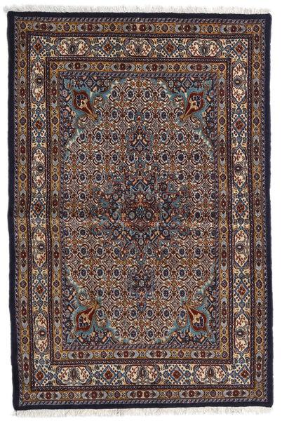 Moud Rug 98X150 Authentic  Oriental Handknotted Dark Brown/Light Grey (Wool/Silk, Persia/Iran)