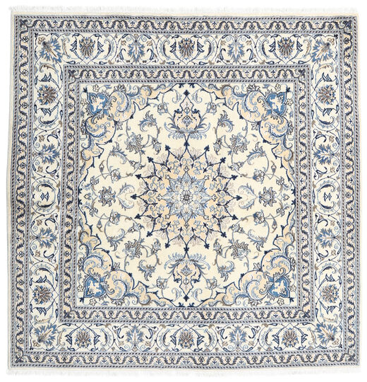 Nain Rug 196X197 Authentic  Oriental Handknotted Square Light Grey/White/Creme (Wool, Persia/Iran)