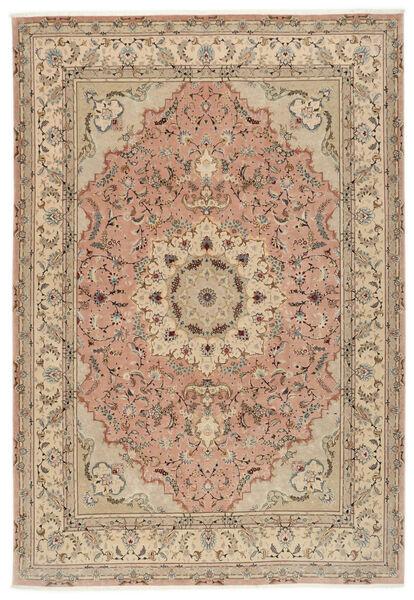Tabriz 50 Raj Rug 250X355 Authentic  Oriental Handknotted Brown/Dark Beige Large (Wool/Silk, Persia/Iran)
