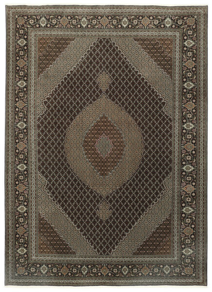 Tabriz 50 Raj Rug 248X337 Authentic  Oriental Handknotted Dark Grey/Dark Brown (Wool/Silk, Persia/Iran)