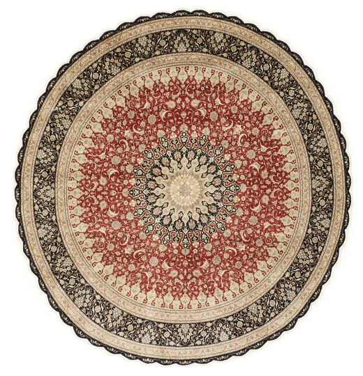 Qum Silk Rug Ø 203 Authentic  Oriental Handknotted Round Light Brown/Dark Beige (Silk, Persia/Iran)