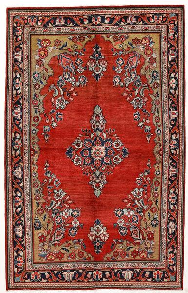 Sarouk Rug 144X230 Authentic  Oriental Handknotted Dark Red/Rust Red (Wool, Persia/Iran)