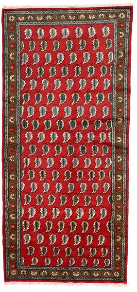 Lillian Rug 128X274 Authentic  Oriental Handknotted Hallway Runner  Dark Grey/Crimson Red (Wool, Persia/Iran)