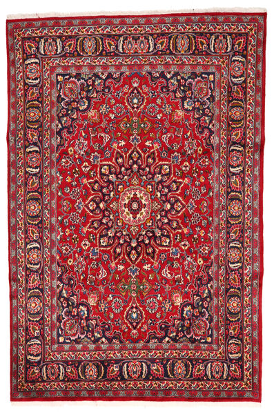 Mashad Rug 197X280 Authentic  Oriental Handknotted Crimson Red/Dark Brown (Wool, Persia/Iran)