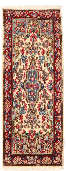 Kerman Rug 57X145 Authentic  Oriental Handknotted Hallway Runner  Dark Red/Beige (Wool, Persia/Iran)
