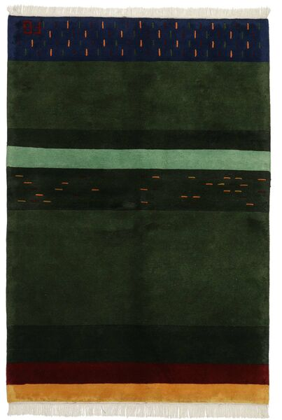 Gabbeh Indo Rug 143X208 Authentic  Modern Handknotted Dark Green (Wool, India)