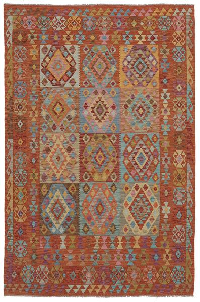 Kilim Afghan Old Style Rug 202X302 Authentic  Oriental Handwoven Dark Brown (Wool, Afghanistan)