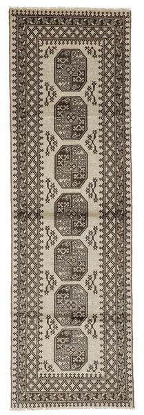 Afghan Rug 87X286 Authentic  Oriental Handknotted Hallway Runner  Dark Brown/Black (Wool, Afghanistan)