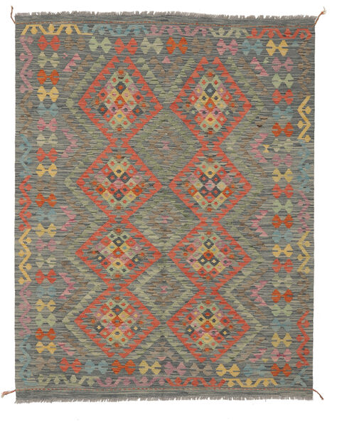 Kilim Afghan Old Style Rug 151X193 Authentic  Oriental Handwoven Dark Green/White/Creme (Wool, Afghanistan)