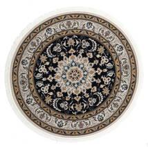 Nain Mahak Rug Ø 225 Oriental Round Dark Grey/Light Grey ( Turkey)