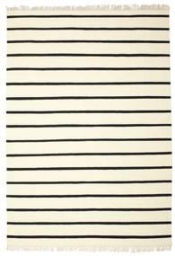 Dhurrie Stripe - White/Black Rug 220X320 Authentic  Modern Handwoven Beige/White/Creme (Wool, India)