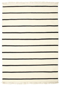 Dhurrie Stripe - White/Black Rug 140X200 Authentic  Modern Handwoven Beige/White/Creme (Wool, India)