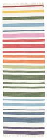 Rainbow Stripe - White Rug 80X250 Authentic  Modern Handwoven Hallway Runner  Beige/White/Creme (Cotton, India)