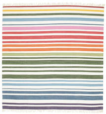Rainbow Stripe - White Rug 200X200 Authentic  Modern Handwoven Square Beige/White/Creme (Cotton, India)