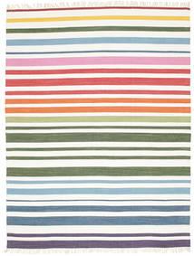 Rainbow Stripe - White Rug 200X250 Authentic  Modern Handwoven Beige/White/Creme (Cotton, India)