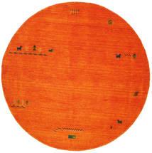 Gabbeh Indo - Orange Rug Ø 200 Modern Round Crimson Red/Rust Red/White/Creme (Wool, India)