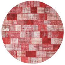 Patchwork Rug Ø 398 Authentic  Modern Handknotted Round Dark Red/Light Pink Large (Wool, Turkey)