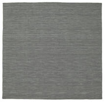 Kilim Loom - Dark Grey Rug 200X200 Authentic  Modern Handwoven Square Dark Green/Light Grey (Wool, India)