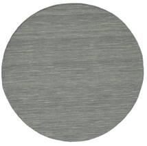 Kilim Loom - Dark Grey Rug Ø 150 Authentic  Modern Handwoven Round Light Grey/Dark Green (Wool, India)