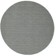 Kilim Loom - Dark Grey Rug Ø 300 Authentic  Modern Handwoven Round Light Grey/Dark Green Large (Wool, India)