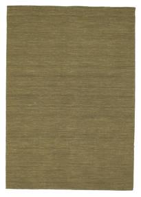Kilim Loom - Olive Rug 160X230 Authentic  Modern Handwoven Olive Green (Wool, India)