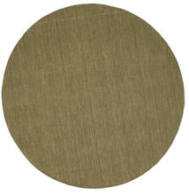 Kilim Loom - Olive Rug Ø 250 Authentic  Modern Handwoven Round Olive Green Large (Wool, India)