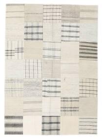 Kilim Patchwork Rug 142X200 Authentic Modern Handwoven White/Creme/Beige/Light Grey (Wool, Turkey)