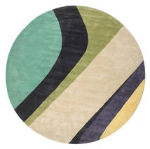 Dynamic Handtufted - Mint Rug Ø 300 Modern Round Beige/Dark Grey/Pastel Green Large (Wool, India)