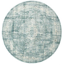 Jacinda - Light Rug Ø 300 Modern Round Light Grey/Turquoise Blue Large ( Turkey)