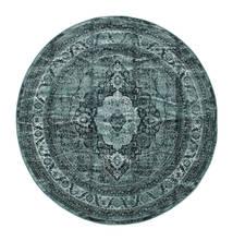 Jacinda - Dark Rug Ø 200 Modern Round Turquoise Blue/Dark Blue ( Turkey)