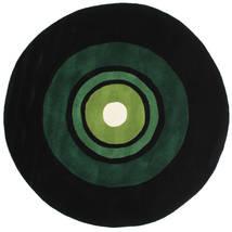 Schallplatte Handtufted Rug Ø 150 Modern Round Dark Green (Wool, India)