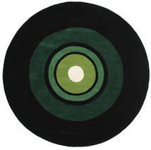 Schallplatte Handtufted Rug Ø 250 Modern Round Dark Green Large (Wool, India)