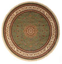 Nahal - Green Rug Ø 9′10″ Modern Round Brown/Dark Brown Large ( Turkey)