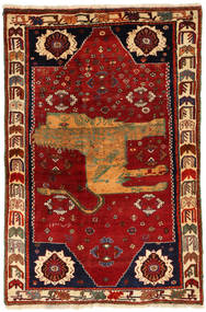 Qashqai Pictorial Rug 130X200 Authentic  Oriental Handknotted Dark Red/Rust Red (Wool, Persia/Iran)