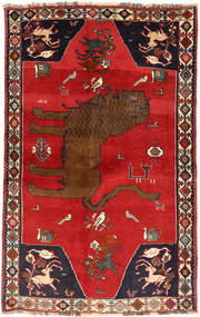 Qashqai Rug 129X208 Authentic  Oriental Handknotted Rust Red/Dark Red (Wool, Persia/Iran)