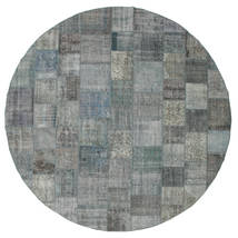 Patchwork Rug Ø 400 Authentic  Modern Handknotted Round Light Grey/Dark Grey Large (Wool, Turkey)