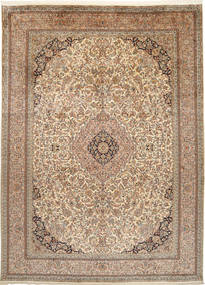 Kashmir Pure Silk Rug 249X342 Authentic  Oriental Handknotted Brown/Light Grey (Silk, India)
