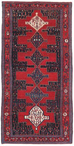 Senneh Patina Rug 128X277 Authentic Oriental Handknotted Crimson Red/Black (Wool, Persia/Iran)