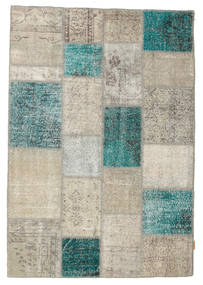 Patchwork Rug 140X200 Authentic  Modern Handknotted Light Grey/Turquoise Blue (Wool, Turkey)